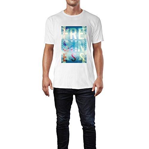 SINUS ART® Exotischer Sommer Print Freshness Herren T-Shirts in Weiss Fun Shirt mit tollen Aufdruck