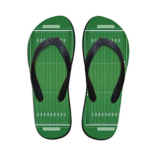 Football Modern Flip Flops,Field of The Game Strategy Tactics End Zone Touchdown Sports Competition Theme for Party & House & Other Events,US Size 8 ()