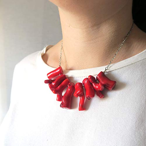 - Red coral necklace with branch of coral - handmade gift in boho style for her