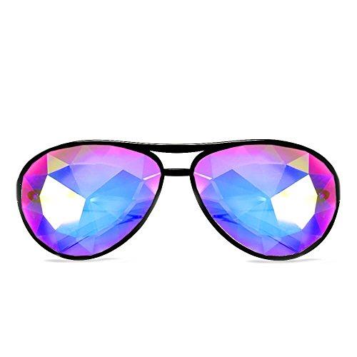 GloFX Aviator Style Kaleidoscope Glasses - Rave Rainbow EDM Diffraction