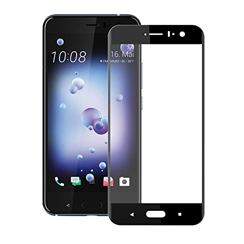 HTC U11 / U 11 / Ocean Screen Protector, Full Coverage Tempered Glass, 3D Full Coverage Anti-Bubble Scratch Fingerprint Ultra HD Clear Shield 0.26mm 9 Hardness Screen Protector (Black 1 Pack)