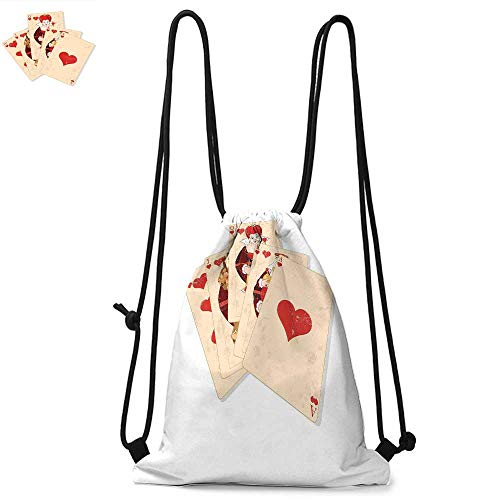 Alice in Wonderland Portable drawstring backpack Crown of Gambler Queen Alice Hearts Royal Fairy Flush Face Magic For the gym W13.8 x L17.7 Inch Brown Red Ecru