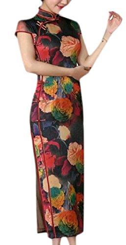 Mogogo Femmes Imprimer Col Montant À Manches Courtes Cheongsam Soie Longue Fendue Mince Robe De Soirée Chinoise Pattern26