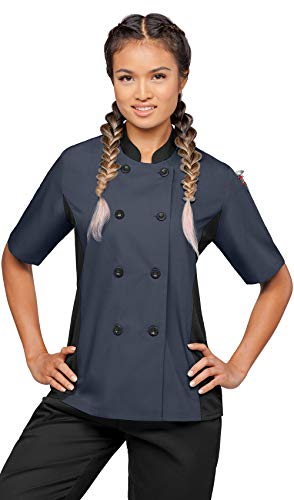 Women's Short Sleeve Chef Coat with Mesh Side Panels (XS-3X, 4 Colors) (XX-Large, Granite/Black)
