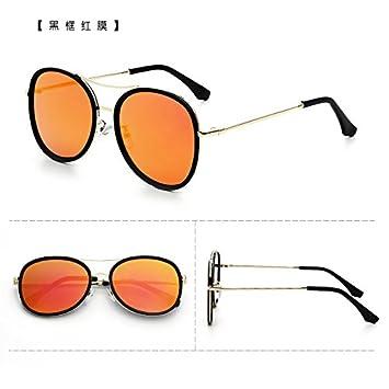 2bee66b11f Sunyan Gafas de sol Gafas estrella marea hembra nueva ronda gafas de sol  dama cara redonda elegante coreano rojo neto 3673,marco negro rojo film:  Amazon.es: ...
