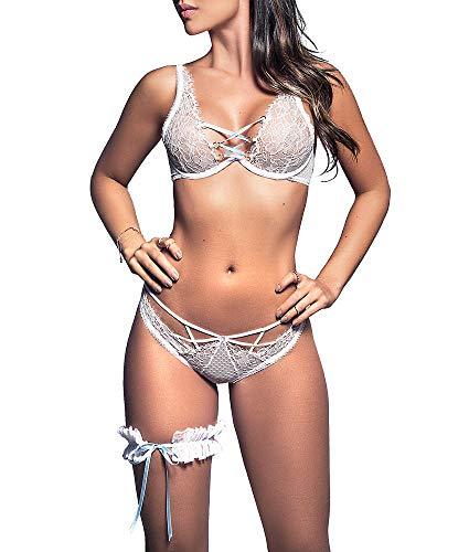 (Mapale Bridal Bra, Panty & Garter Set, S/M, White)
