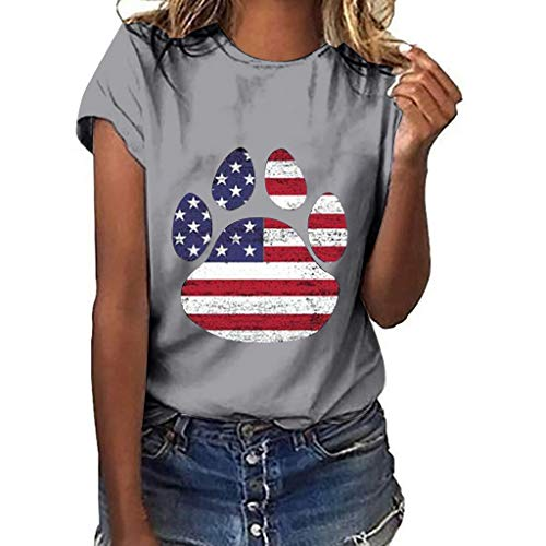 Womens Independence Day Paw Printed T Shirts Casual Short Sleeve O Neck Tees Plus Size Summer Blouse Tops Pocciol