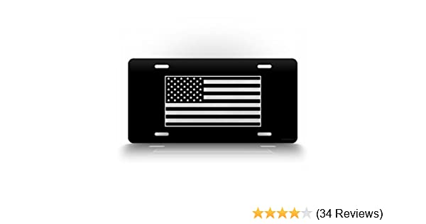 New American Flag Tactical Black And White Tennessee State Outline License Plate