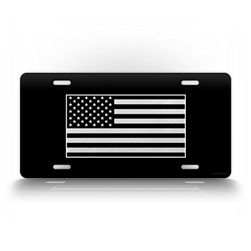 Flag License Plate Tag (Tactical American Flag License Plate Patriotic USA Auto Tag AR15 US ARMY Badge Patch BLACK & WHITE)