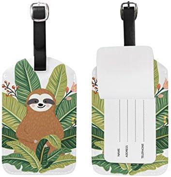 ALAZA Cute Sloth Tropical Leaves Etiqueta de equipaje Etiqueta de cuero para bolsa de identificación de viaje para maleta Equipaje 1 pieza