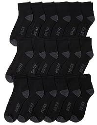18 Pack Bolter Ankle Socks Black (8-12, Black)