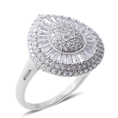 925 Sterling Silver Baguette Cubic Zirconia CZ Anniversary Ring for Women Cttw 3.9 ()