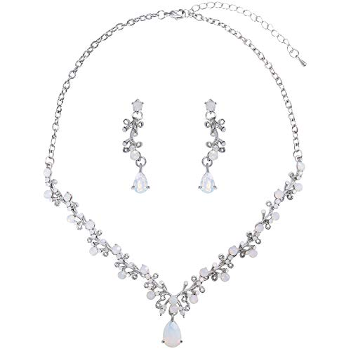 - LILIE&WHITE Opal Jewelry Set for Women, Crystal Prom Necklace Jewelry, Bridal Australian Crystal Necklace and Earrings Sets for Bride
