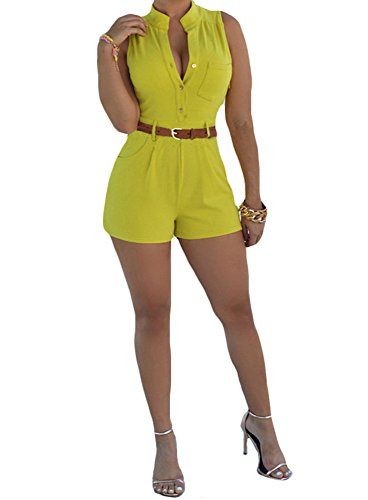 Century Star Slim Casual Shorts Jumpsuit With Belt Yellow - Shoping For Online India