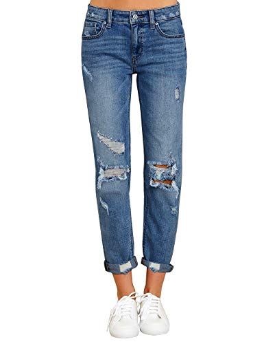 Vetinee Women's Dark Blue High Rise Destroyed Girlfriend Tapered Cropped Jeans Washed Distressed Ripped Broken Holes Casual D