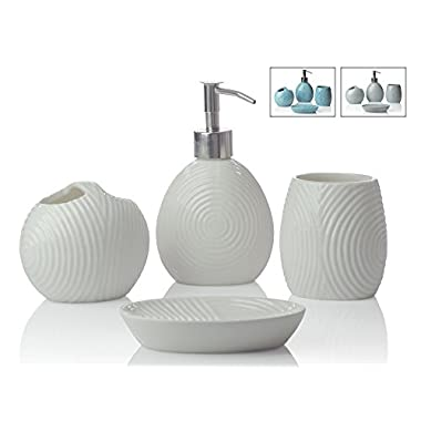 [4th of July Sale] Designer 4-Piece Ceramic Bath Accessory Set | Includes Liquid Soap or Lotion Dispenser w/ Premium Metal Pump, Toothbrush Holder, Tumbler, Soap Dish | Zen Garden | Alpine White