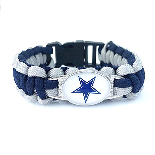 NineJewelry NJ NFL Dallas Cowboys Bracelet - Navy Blue Braided Rope Paracord American Football Paracord Survival Cowboy Cuff Bracelets for Cowboy Lovers Fans for Hiking Camping Outdoors Activities (Nj Dallas To)