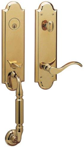 Exit Door Lever Set - Baldwin 85350.003.LENT Manchester Emergency Exit Handleset with Wave Lever, Lifetime Polished Brass