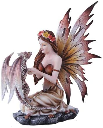 Pacific Giftware Autumn Fairy And Leapard Dragon Mystical Statue Figurine Fall Leaves