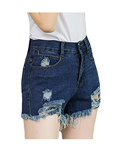 Short Jean Fonc Fit Distressed Denim Slim Femme Bleu bestgift gqwaAdRxa