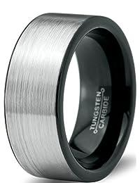 Tungsten Wedding Band Ring 8mm for Men Women Comfort Fit Black Enamel Pipe Cut Brushed Lifetime Guarantee