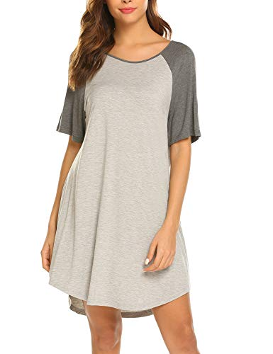 Ekouaer Long Sleeve Nightgowns Sleep Dress for Women Lace Sleepwear Slip Gray