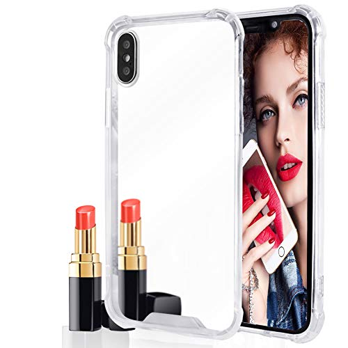 Ownest Compatible with iPhone Xs Max Case for Girls Women Cute Stylish with Glitter Ultra-Thin Mirror TPU PC Back Protective Silicone Slim Shockproof Case for iPhone Xs MAX-(Sliver)