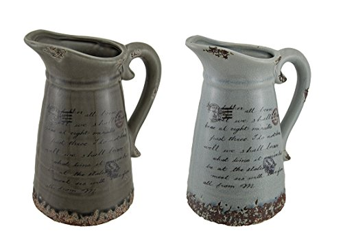 Decorative Vintage Finish Postcard Print Ceramic Pitcher Set of 2