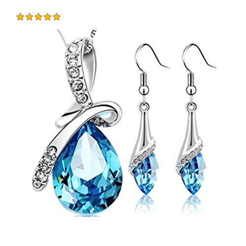 Austrian Crystal Love - Bkzhcll for Eternal Love Austrian Crystal Necklace Pendants for Women and Girls with a Pair of Crystal Earrings(Blue)