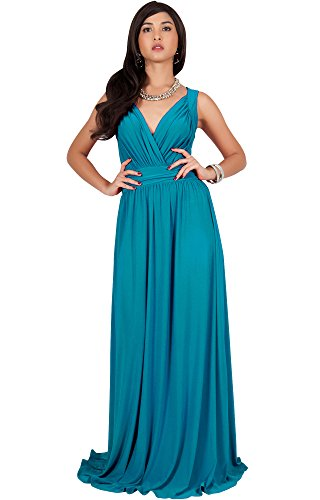 KOH KOH Petite Women Long Sleeveless Flowy Bridesmaids Cocktail Party Evening Formal Sexy Summer Wedding Guest Ball Prom Gown Gowns Maxi Dress Dresses, Blue/Green Jade S 4-6 - Dresses Formal Jade