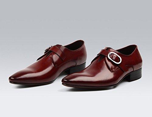 Scarpe Uomo in Pelle Scarpe da uomo da uomo Business Formal Wear British Style Pointed Scarpe da sposa moda singola traspirante ( Colore : Vino rosso , dimensioni : EU44/UK8.5 ) Vino Rosso