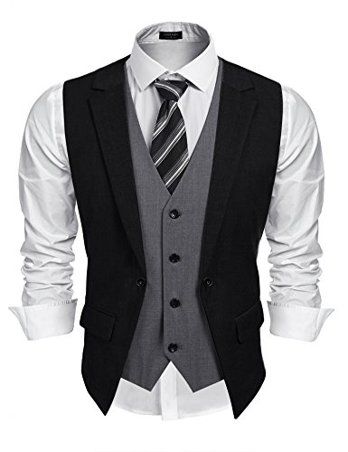 Coofandy Mens Formal Fashion Layered Vest Waistcoat Dress Vest,Black,X-Large ()