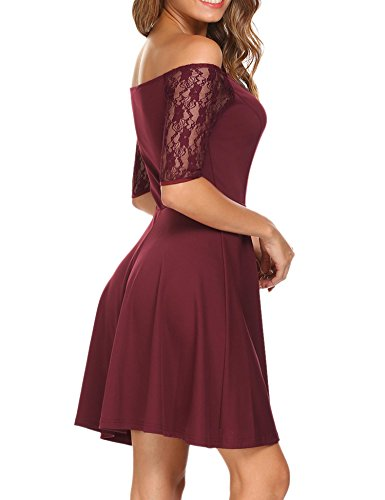 Midi Casual Women Sexy Slim Red Neck O Dress 2 wine Hotouch Floral Lace Yqxwd5q8f