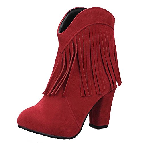 SJJH Women Roman Boots with Large Size and High Chunky Heel Women Cowboy Style Tassel Boots Red