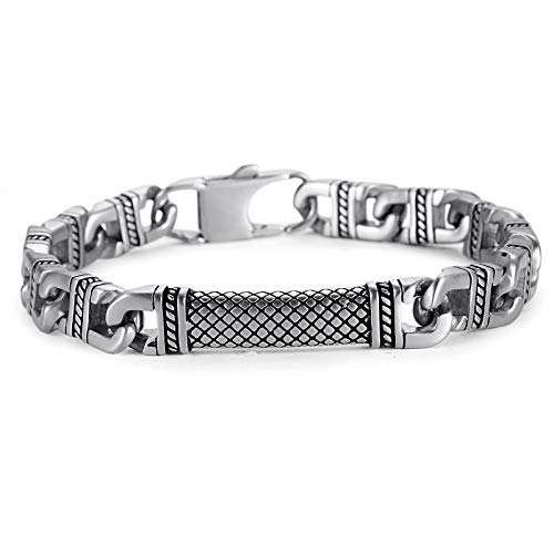 NanoStyle Men's 316L Stainless Steel Anchor Link Chain Bracelet Reptile Design ID Plate Detail Lobster Clasp, 8.3