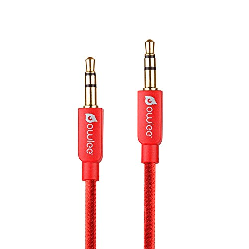Owlee 4 ft, Tangle-Free, Male to Male, Nylon Braided, 3.5mm Auxiliary Audio Cable, Gold Plated Connectors, For Headphones, iPod, Mp3 player, tablets, car Stereos and More (Cd Player Holster)