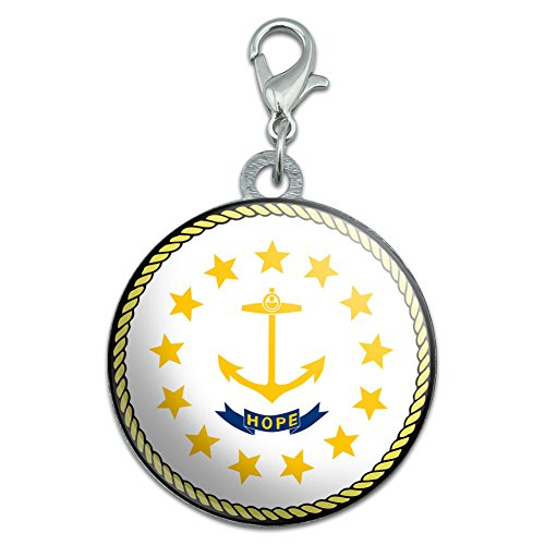 Rhode Island State Flag Stainless Steel Pet Dog ID Tag
