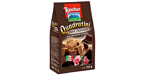 Amazon.com: Loacker Dark Chocolate Quadratini Wafer Biscuits 125 g (Pack of 6)