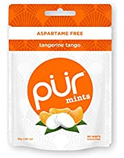 PUR 100% Xylitol Mints, Sugarless Tangerine Tango, Sugar Free + Aspartame Free + Gluten Free + Vegan - Freshens Breath, Low Carb, Simply Pure Natural Fruit Flavoured Candy, 50 Pieces (Pack of 1)