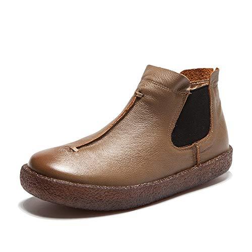 ZHRUI Große Größe Stiefel Frauen Leder Knöchel Comfort Oxford Schuhe Größe (Farbe   Kamel, Größe Schuhe   EU 36) 903650