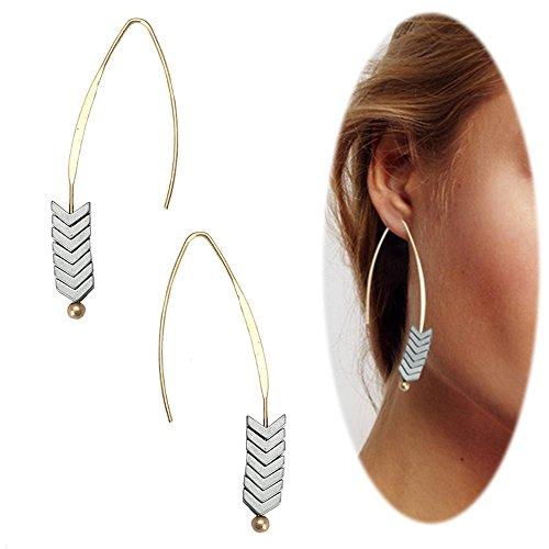 Dangle Earrings Jewelry Threader (Threader Drop Earring Arrow Dangle Hoops Retro Unique Ear Crawler Earrings Climber Long Ear Line Jewelry Silver Tone)