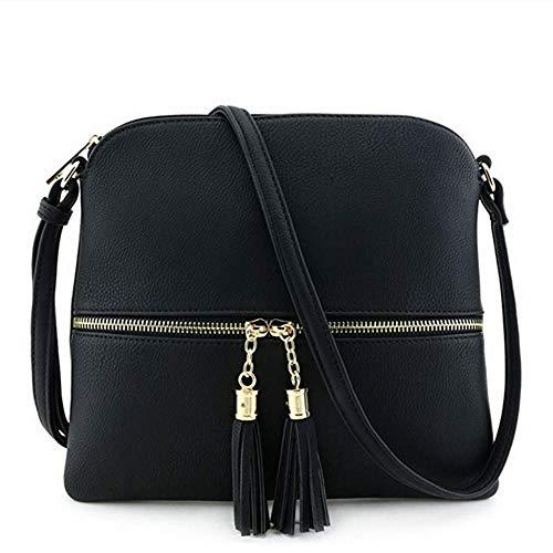 Kbinter Lightweight Medium Crossbody Bag with Tassel and Zipper Pocket (Black) , Large