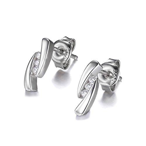 JewelryPalace 0.1ct Zircone Cubique 3 Pierres Goujon Boucles d'oreilles en Argent 925