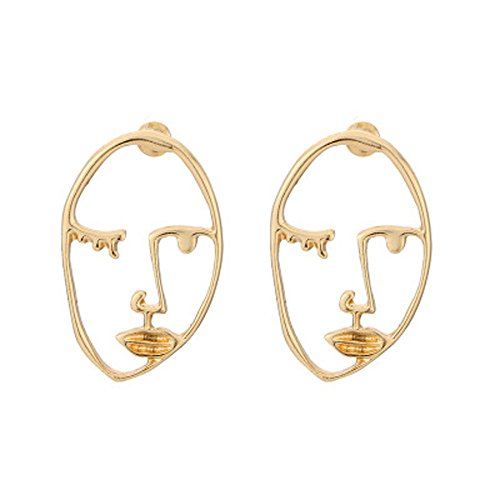 Snowfoller Novelty Earrings, Human Face Dangle Earrings Drop Hoops Studs Cuffs Ear Wrap Pin Vine Dangling Hollow Out Charms Jewelry (C) ()