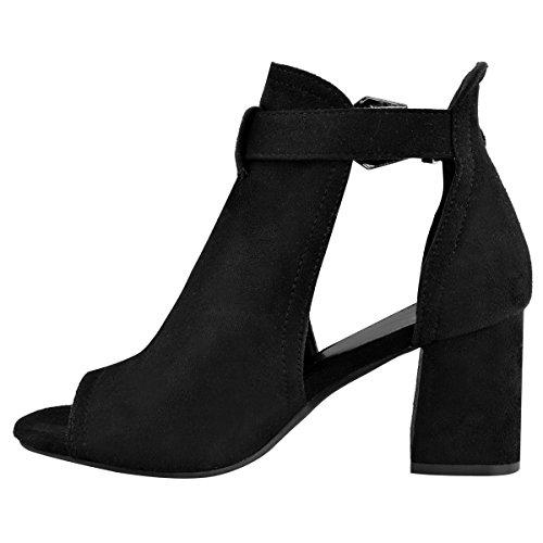noir et boucle Sandales Thirsty Bout Ouvert Fashion Moyens argentée suède Femme Faux Talons Larges à wHA5X7q