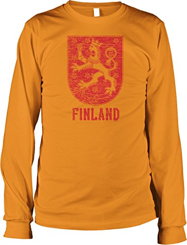 Hoodteez Finland Coat of Arms, Grand Duke of Finland Men's Long Sleeve Shirt, XXXL Orange (Arms Coat Of Finnish)