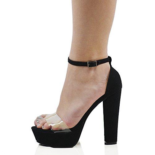 ESSEX GLAM Sintético Sandalias de suela gruesa con tacón alto cruadrado y plataforma transparente con tira al tobillo Negro Gamuza Sintética
