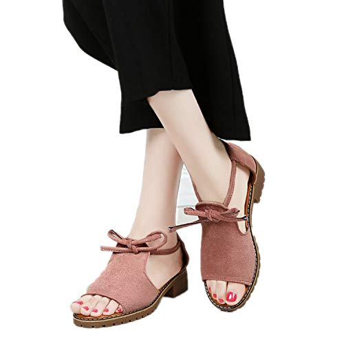 Thick with Sandals Female Summer Fish Mouth Buckle Roman Shoes Low-Heeled Women Sandals Pink -