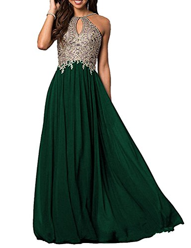 Women Chiffon Halter Lace Applique Prom Dresses Long 2019 Formal Gowns Size 18 Green ()