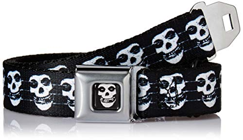 - Buckle-Down Men's Seatbelt Belt Kids, Misfits Fiend Skull/Barbed Wire Black/White, 1.0
